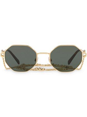 Valentino Eyewear VLOGO Geometric Frame Sunglasses With Chain - Farfetch