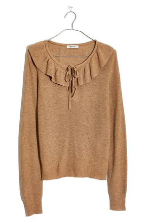 Madewell Tie Neck Ruffle Pullover Sweater | Nordstrom