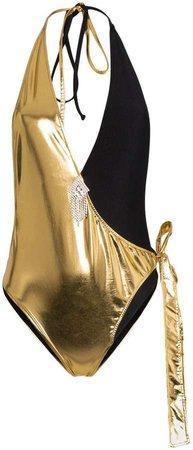 Halterneck two-tone swimsuit