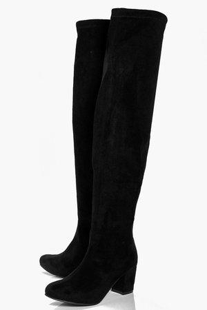 Block Heel Stretch Knee High Boots | boohoo