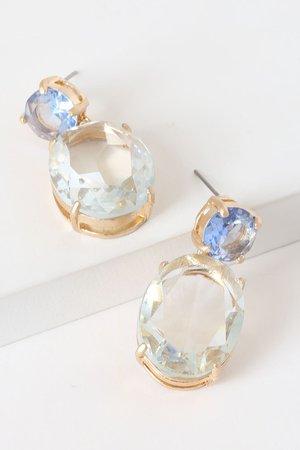 Chic Blue Rhinestone Earrings - Gold Post Back Earrings