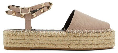 Rockstud Leather Flatform Espadrille Sandals - Nude