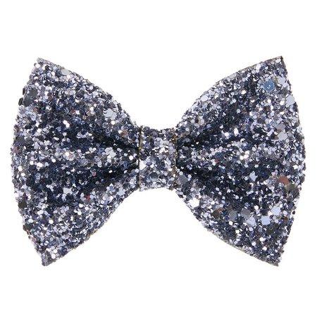Glitter Mini Hair Bow Clip - Slate Gray | Claire's US