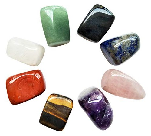 Amazon.com: Chakra Stones Healing Crystals Set of 8, Tumbled and Polished, for 7 Chakras Balancing, Crystal Therapy, Meditation, Reiki, or as Thumb Stones, Palm Stones, Worry Stones: Health & Personal Care