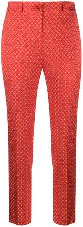 printed straight-leg trousers