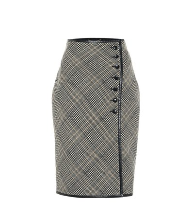 Saint Laurent Checked virgin wool pencil skirt