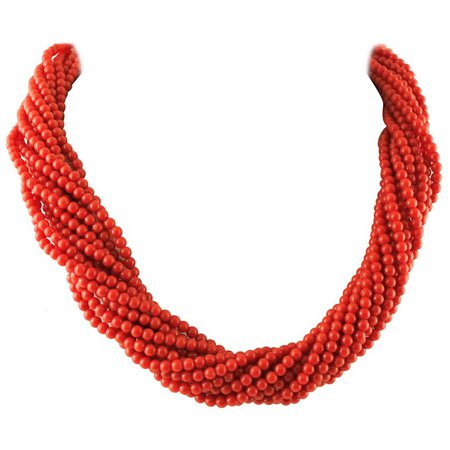 Intertwined Multi-Strands Red Spheres Beaded Necklace
