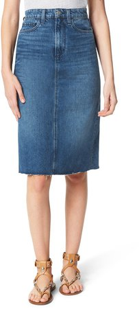 The A-Line Raw Hem Denim Pencil Skirt