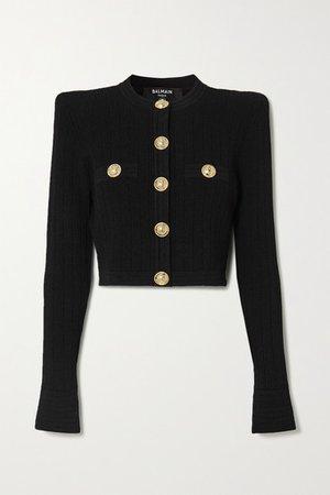 Cropped Button-embellished Jacquard-knit Blazer - Black