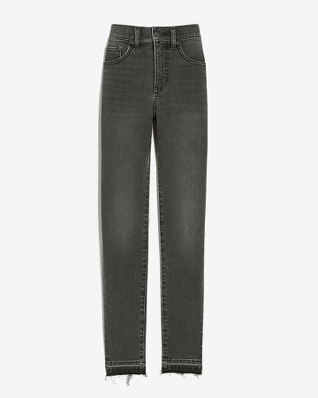 Mid Rise Supersoft Black Raw Released Hem Skinny Jeans