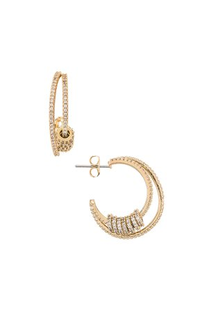 Ettika Ring Double Hoop Earrings in Gold | REVOLVE