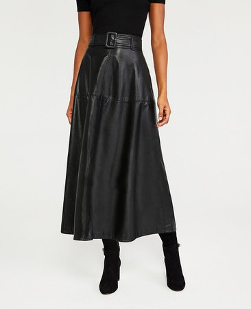 black belted leather skirt