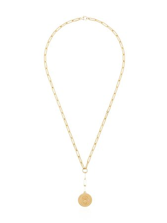 Foundrae 16kt Yellow Gold Drop Pendant Necklace - Farfetch
