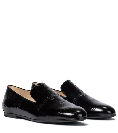 Tod's, Croc-effect leather loafers