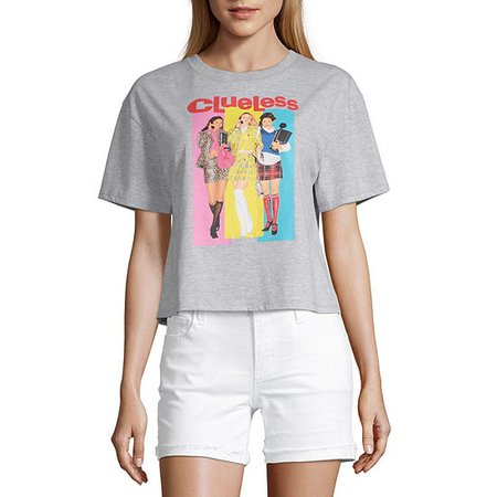 Juniors Womens Crew Neck Short Sleeve Graphic T-Shirt, Color: Grey Clueless - JCPenney