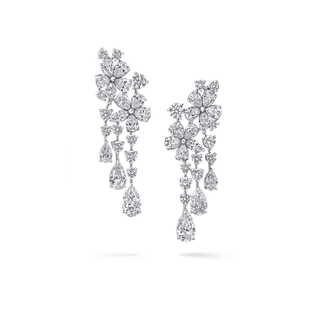 Carissa Double Flower Earrings, Diamond | Graff