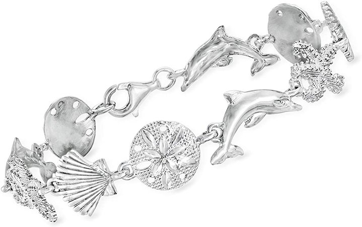 Amazon.com: Ross-Simons Sterling Silver Sea Life Link Bracelet. 8 inches: Jewelry