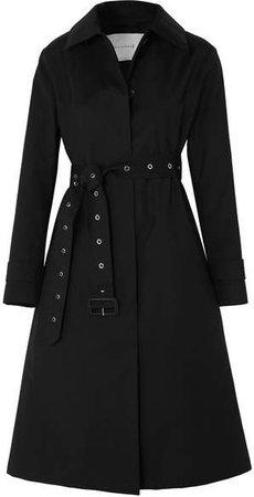 Belted Bonded Wool Coat - Black