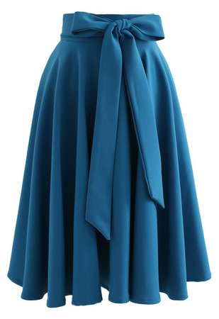 Flare Hem Bowknot Waist Midi Skirt in Peacock Blue - Retro, Indie and Unique Fashion
