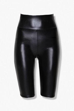 Active Faux Leather Biker Shorts   Forever 21
