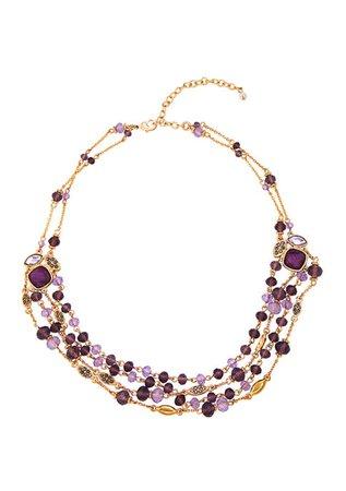 Napier Gold Tone Purple Beaded Multi Row Necklace