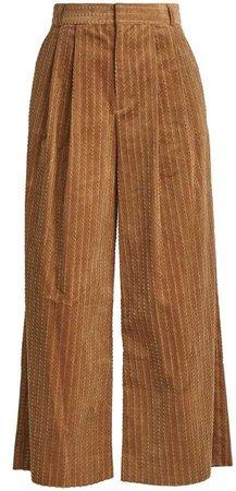 Muveil Wide-Leg Cropped Cotton-Corduroy Trousers