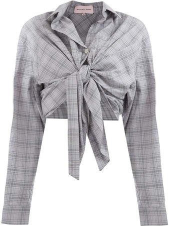 knot-detail plaid cropped shirt