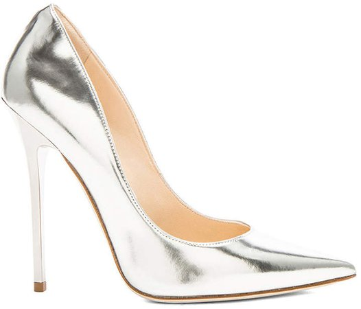 Anouk 120 Mirror Leather Pumps in Silver | FWRD