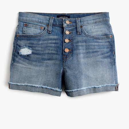 High-rise denim short with button fly - Women's Shorts | J.Crew