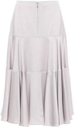Tiered Hammered Satin Midi Skirt