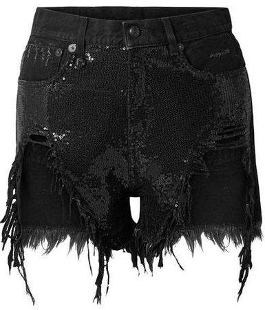 Distressed Sequin-embellished Denim Shorts - Black
