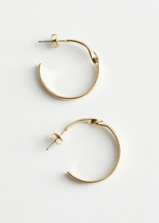 Twisted Open Hoop Earrings - Gold - Hoops - & Other Stories