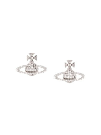 Silver Vivienne Westwood rhinestone-embellished logo earrings - Farfetch