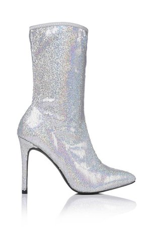 Silver Sequin Heeled Sock Boot | Ankle boots | I SAW IT FIRST