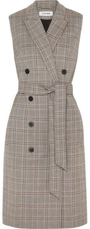 Cefinn - Belted Prince Of Wales Checked Woven Dress - Brown