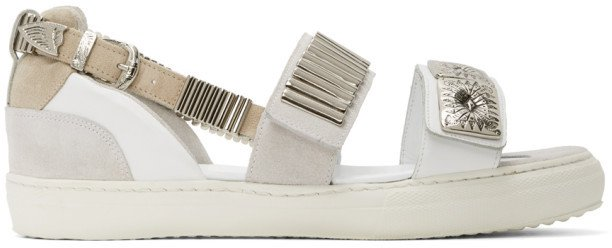 White Buckles Flat Sandals