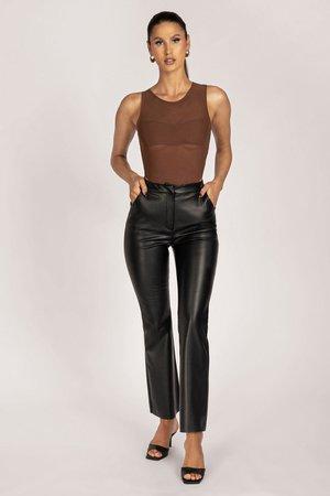 Tyra Straight Leg Faux Leather Pants - Black - MESHKI