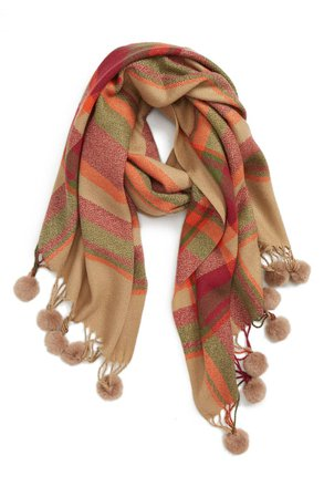 Sole Society Plaid Scarf with Pompom Fringe | Nordstrom