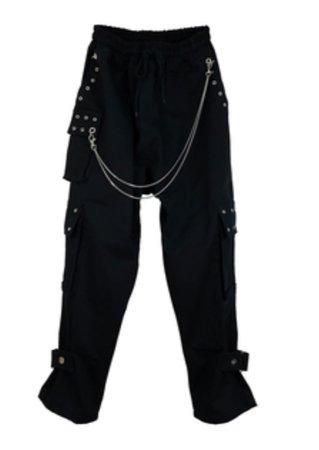 DRAWSTRING CARGO PANTS w/ CHAIN -BLACK- - M.Y.O.B NYC ONLINE STORE