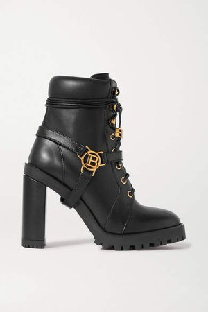 Ranger Buckle-detailed Leather Ankle Boots - Black