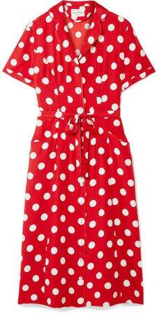 HVN - Maria Polka-dot Silk Crepe De Chine Dress - Red