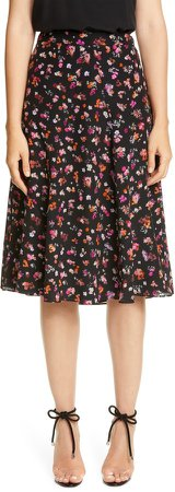 Floral Print A-Line Silk Skirt
