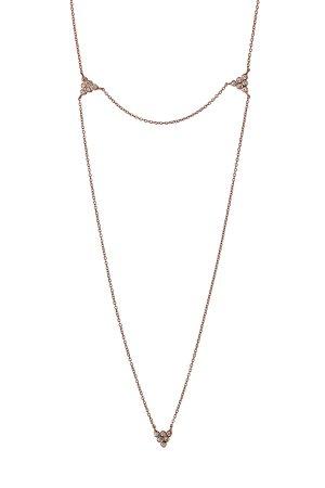 18-Karat Rose Gold Double-Chain Diamond Necklace Gr. One Size