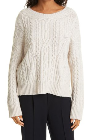 Cable Wool Blend Crewneck Sweater   Nordstrom
