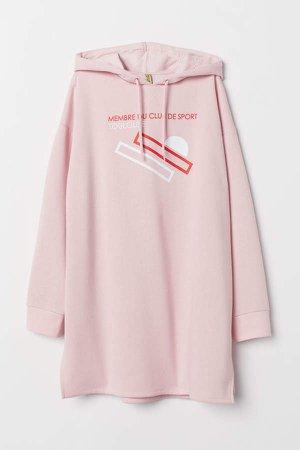 Hooded Sweatshirt Dress - Pink