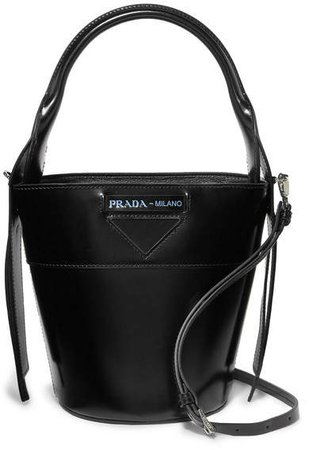 Overture Embossed Glossed-leather Bucket Bag - Black