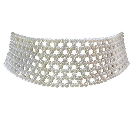 Marina J Wide Woven Bridal Pearl Choker