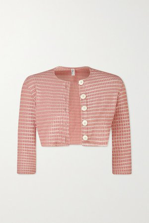 Cropped Seersucker Cardigan - Baby pink