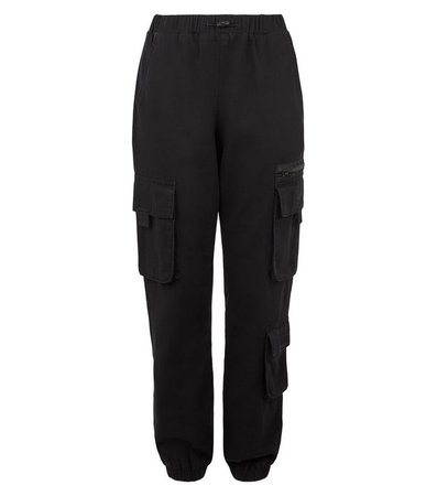 Girls Black Cargo Trousers   New Look