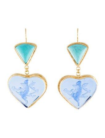 Tagliamonte Turquoise & Venetian Cameo Drop Earrings - Earrings - TAM20692   The RealReal